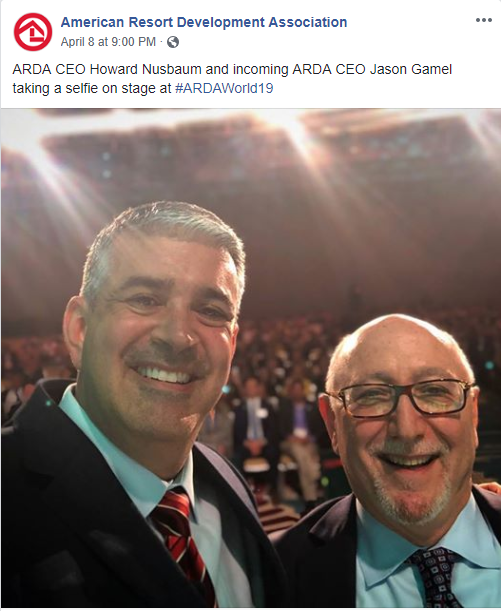 ARDA's new CEO Jason Gamel with Howard Nesbaum as he announced his retirement at ARDA World 2019